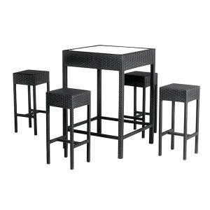 Bar Set 4tlg Merlot, Rattan, schwarz